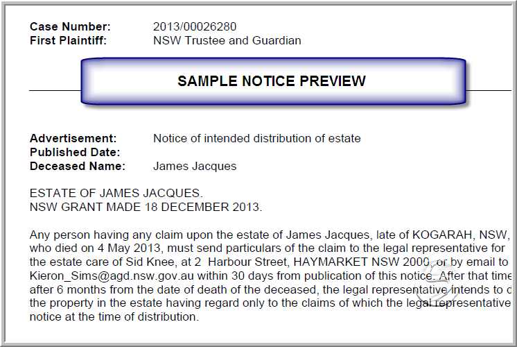 Notice of intended distribution for Estate distribution letter template